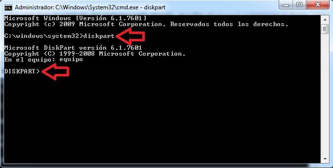 diskpart para bootear una usb