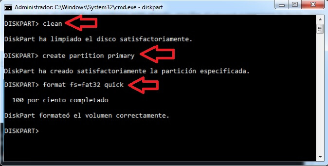 format fs=fat32 quick usb desde cmd