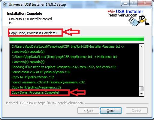 boot usb finalizada con universal intaller usb