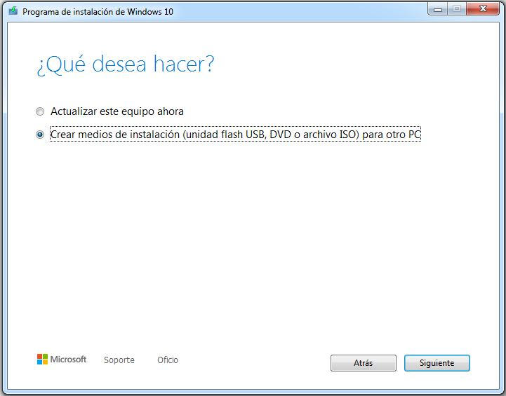crear usb instalacion windows 10