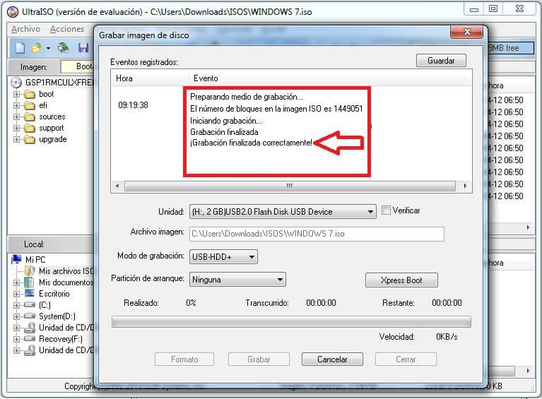 crear usb booteable ultraiso paso 6