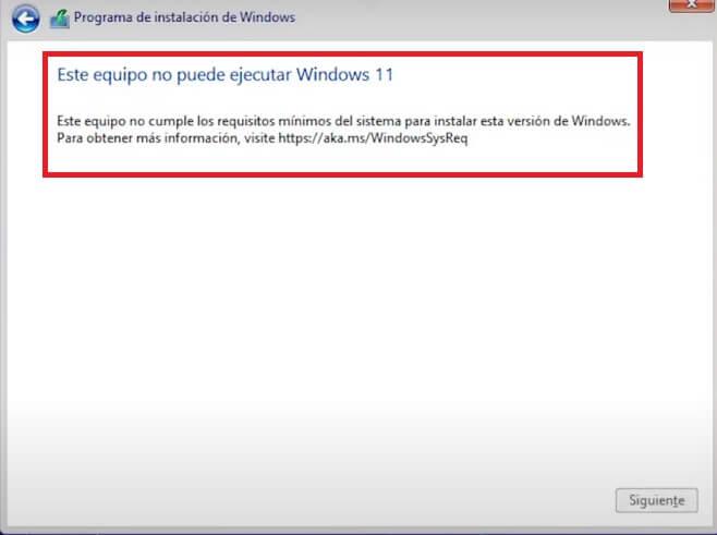 error al instalar windows 11