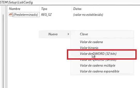 Valor de DWORD (32 bits) en registro de windows 11